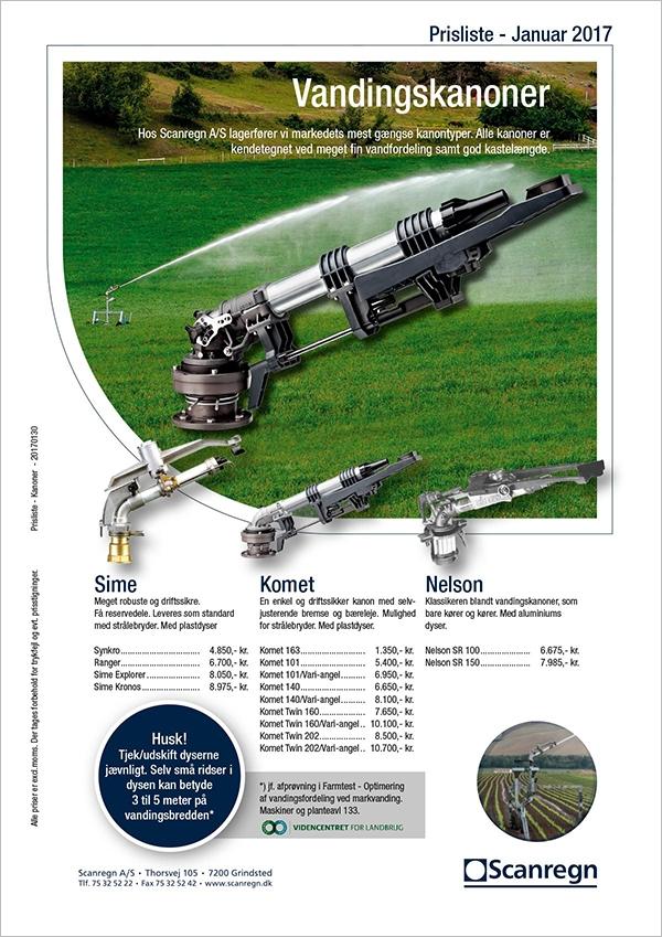 Hos Scanregn A/S lagerfører vi markedets mest gængse kanontyper. Alle kanoner er kendetegnet ved meget fin vandfordeling samt god kastelængde.